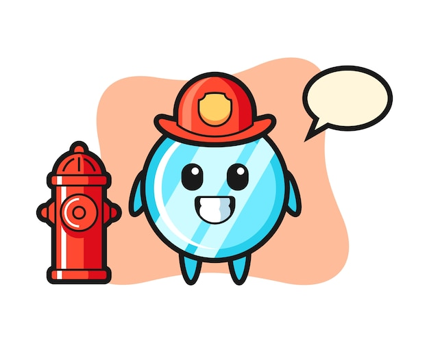 Mascot character of mirror as a firefighter
