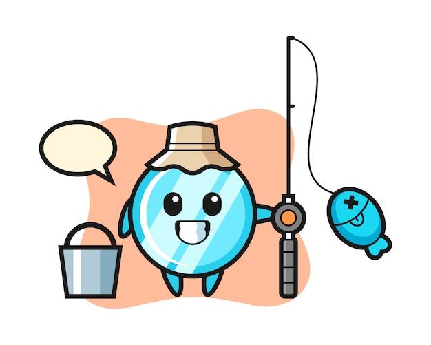 Mascot character of mirror as a fisherman