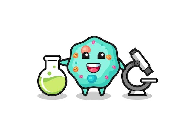 科学者としてのアメーバのマスコットキャラクター、tシャツ、ステッカー、ロゴ要素のかわいいスタイルのデザイン