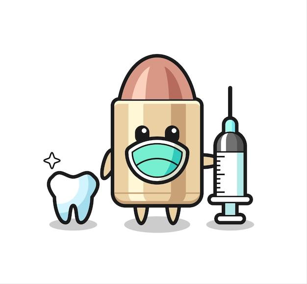 歯科医としての弾丸のマスコットキャラクター、tシャツ、ステッカー、ロゴ要素のかわいいスタイルのデザイン