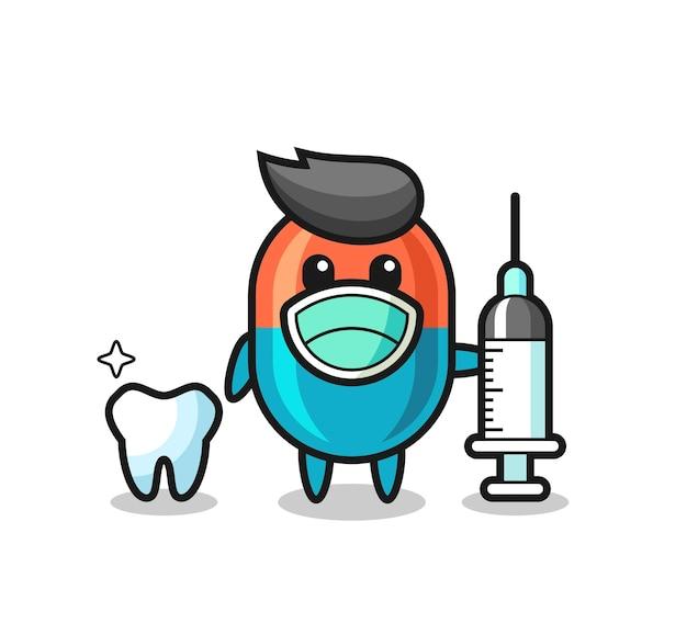 歯科医としてのカプセルのマスコットキャラクター、tシャツ、ステッカー、ロゴ要素のかわいいスタイルのデザイン
