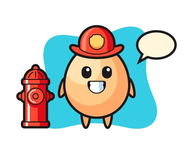 消防士としての卵のマスコットキャラクター、tシャツ、ステッカー、ロゴ要素のかわいいスタイルのデザイン