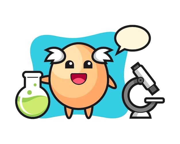 科学者としての卵のマスコットキャラクター、tシャツ、ステッカー、ロゴ要素のかわいいスタイルのデザイン