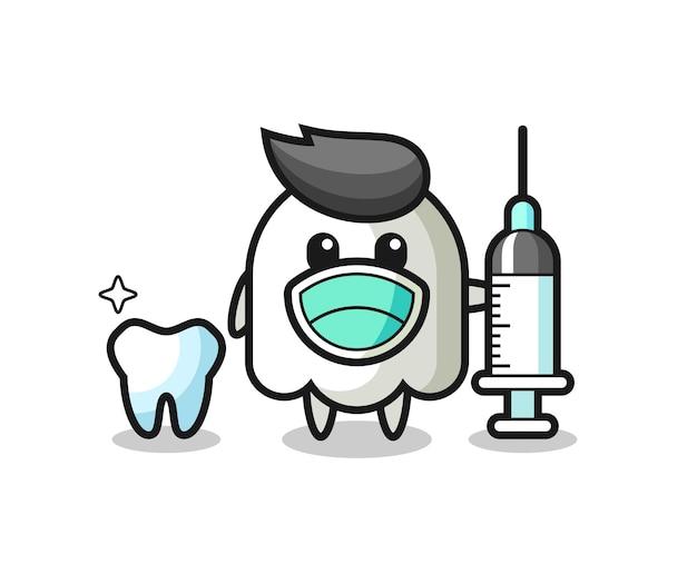 歯科医としての幽霊のマスコットキャラクター、tシャツ、ステッカー、ロゴ要素のかわいいスタイルのデザイン
