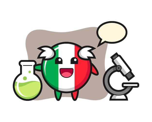 科学者、かわいいスタイル、ステッカー、ロゴ要素としてのイタリアの旗バッジのマスコットキャラクター