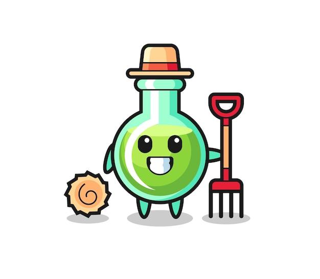 농부로서의 실험실 비커의 마스코트 캐릭터, 티셔츠, 스티커, 로고 요소를 위한 귀여운 스타일 디자인