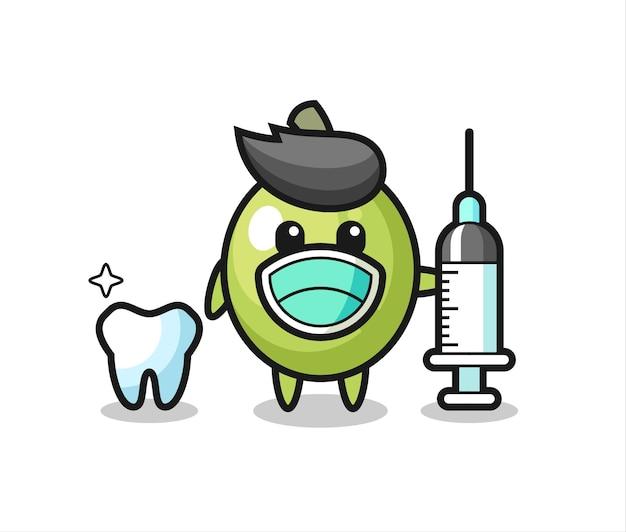 歯科医としてのオリーブのマスコットキャラクター、tシャツ、ステッカー、ロゴ要素のかわいいスタイルのデザイン