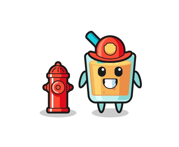 消防士としてのオレンジジュースのマスコットキャラクター、tシャツ、ステッカー、ロゴ要素のかわいいスタイルのデザイン