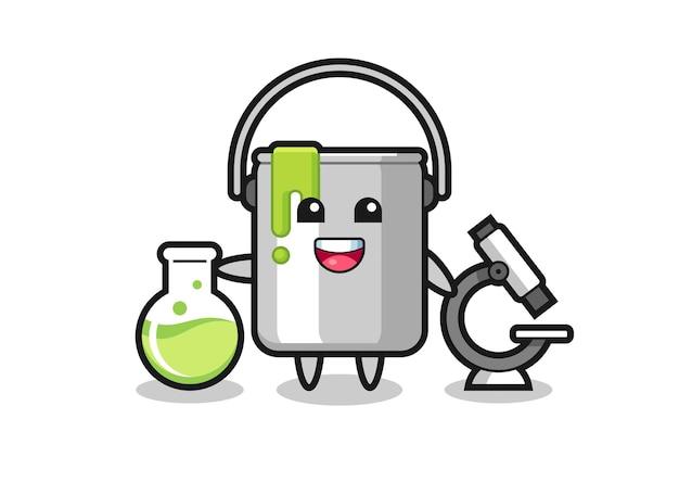 科学者としてのペンキ缶のマスコットキャラクター、tシャツ、ステッカー、ロゴ要素のかわいいスタイルのデザイン