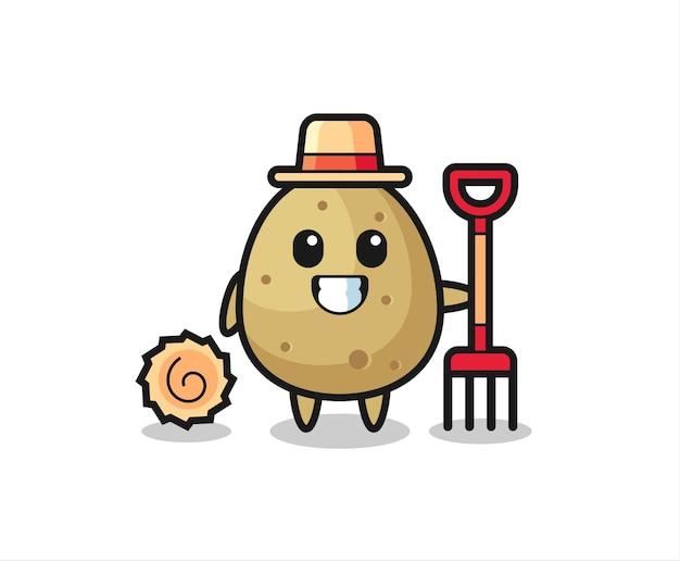 농부로서의 감자 마스코트 캐릭터, 티셔츠, 스티커, 로고 요소를 위한 귀여운 스타일 디자인