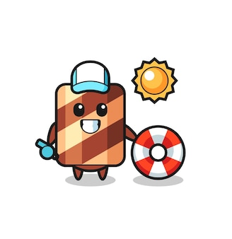 Mascot character of wafer roll as a scientist , cute style design for t shirt, sticker, logo element