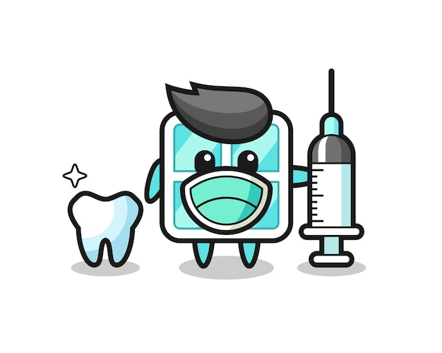 Mascot character of window as a dentist , cute style design for t shirt, sticker, logo element