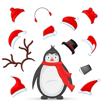 Mascot creation kit of penguin and hats for the animal. vector constructor with selection
