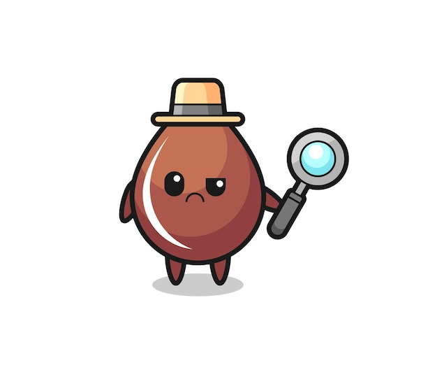 The mascot of cute chocolate drop as a detective , cute style design for t shirt, sticker, logo element