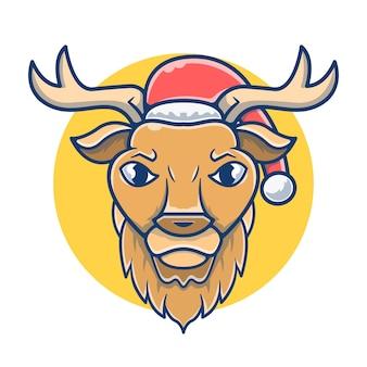 サンタの帽子をかぶったマスコットかわいい鹿
