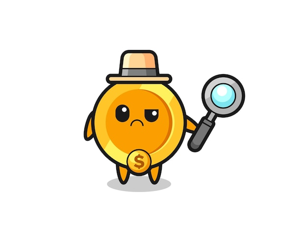 The mascot of cute dollar currency coin as a detective , cute style design for t shirt, sticker, logo element