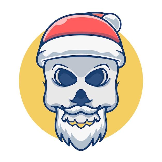 サンタの帽子をかぶったマスコットかわいい頭蓋骨