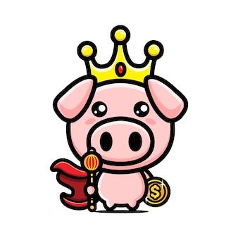 Mascot design of cute pig character