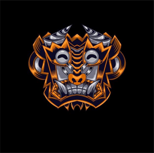 Талисман дьявола обезьяна логотип игры