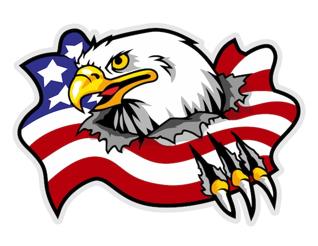 Mascot of eagle that breaking america flag in the background
