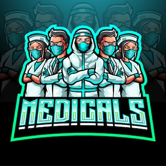 The mascot esport logo of the medical team fighting the coronavirus