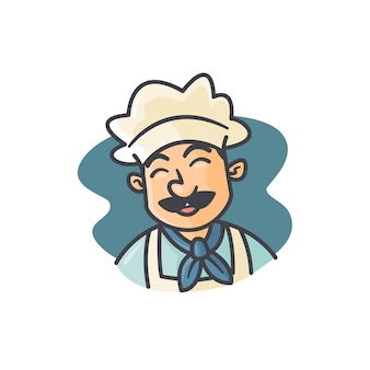Mascot happy chef illustration