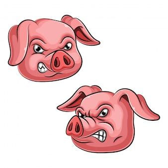 豚のマスコット頭