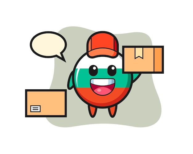 Mascot illustration of bulgaria flag badge as a courier , cute style design for t shirt, sticker, logo element