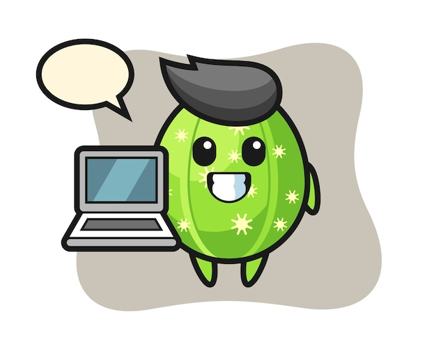 Mascot illustration of cactus with a laptop
