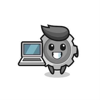 Mascot illustration of gear with a laptop , cute style design for t shirt, sticker, logo element