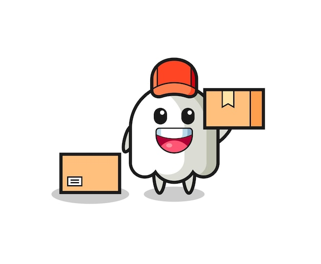 Mascot illustration of ghost as a courier , cute style design for t shirt, sticker, logo element