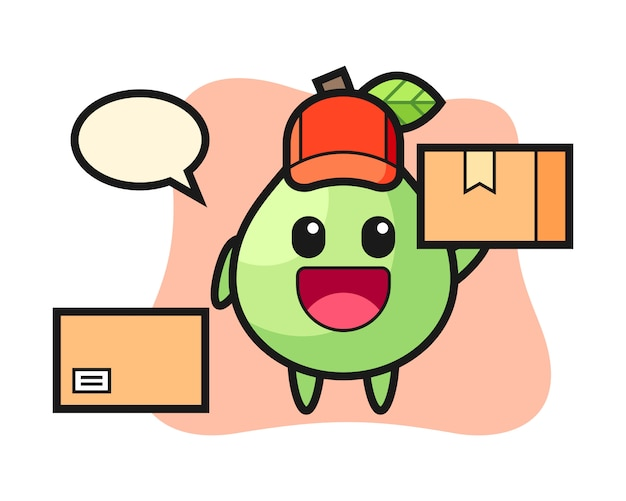 Mascot illustration of guava as a courier, cute style  for t shirt, sticker, logo element
