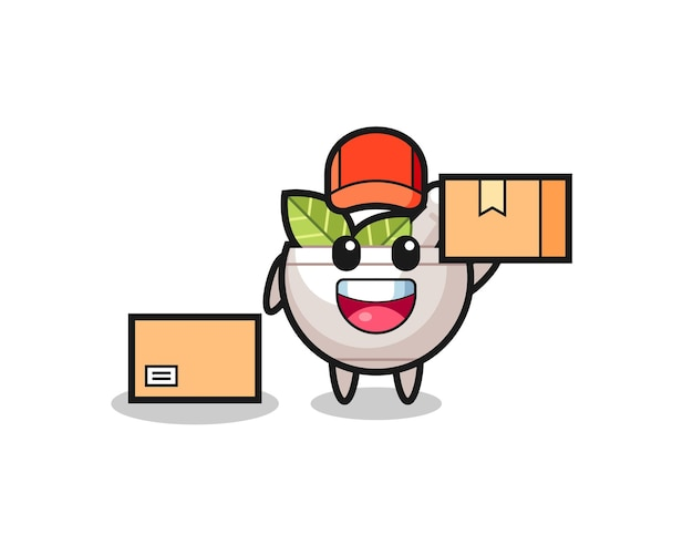 Mascot illustration of herbal bowl as a courier , cute style design for t shirt, sticker, logo element