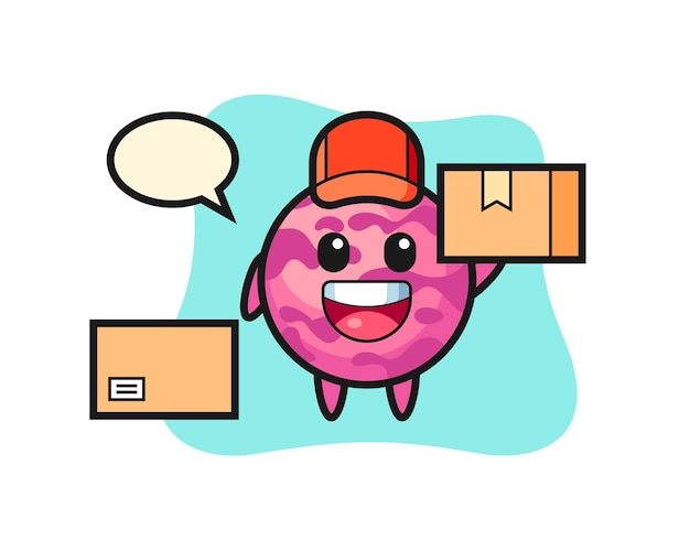 Mascot illustration of ice cream scoop as a courier, cute style design for t shirt, sticker, logo element
