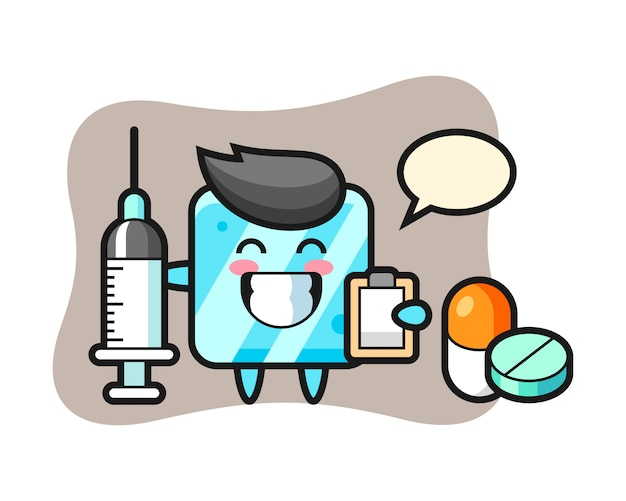 Mascot illustration of ice cube as a doctor