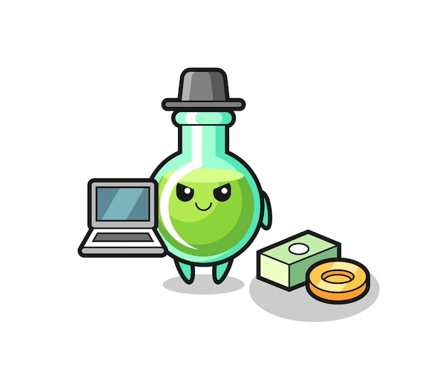 Mascot illustration of lab beakers as a hacker , cute style design for t shirt, sticker, logo element