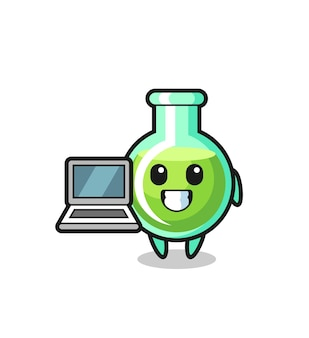 Mascot illustration of lab beakers with a laptop , cute style design for t shirt, sticker, logo element