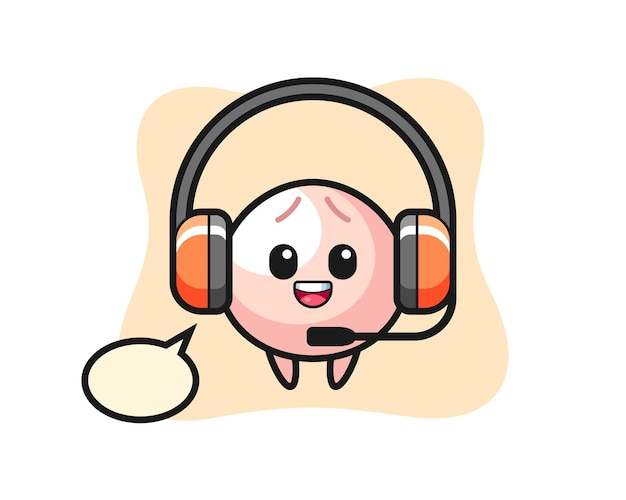 Mascot illustration of meat bun as a customer service, cute style design for t shirt, sticker, logo element