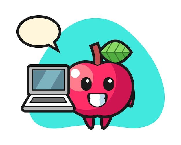 노트북으로 애플의 마스코트 그림