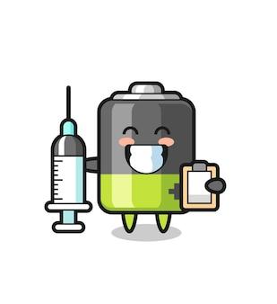 의사로서의 배터리의 마스코트 그림, 티셔츠, 스티커, 로고 요소를 위한 귀여운 스타일 디자인