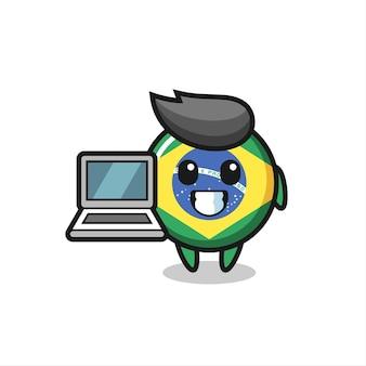 노트북이 있는 브라질 국기 배지의 마스코트 그림, 티셔츠, 스티커, 로고 요소를 위한 귀여운 스타일 디자인