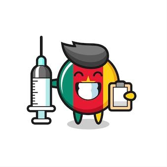 의사로서의 카메룬 국기 배지의 마스코트 그림, 티셔츠, 스티커, 로고 요소를 위한 귀여운 스타일 디자인