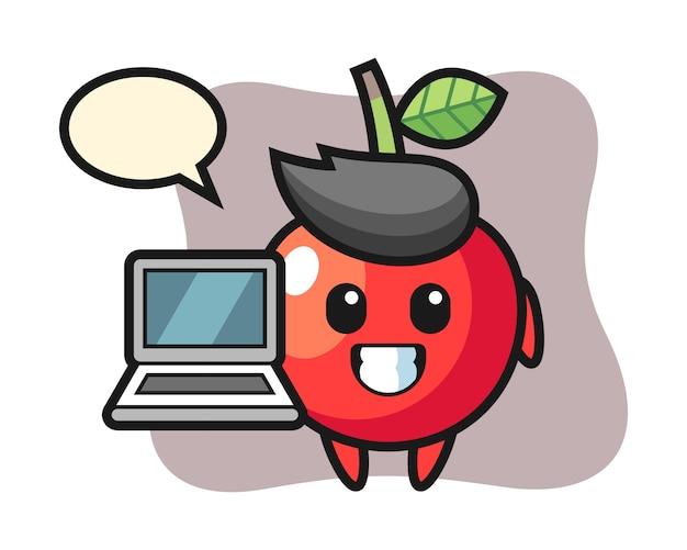 노트북, 귀여운 스타일 디자인으로 체리의 마스코트 그림