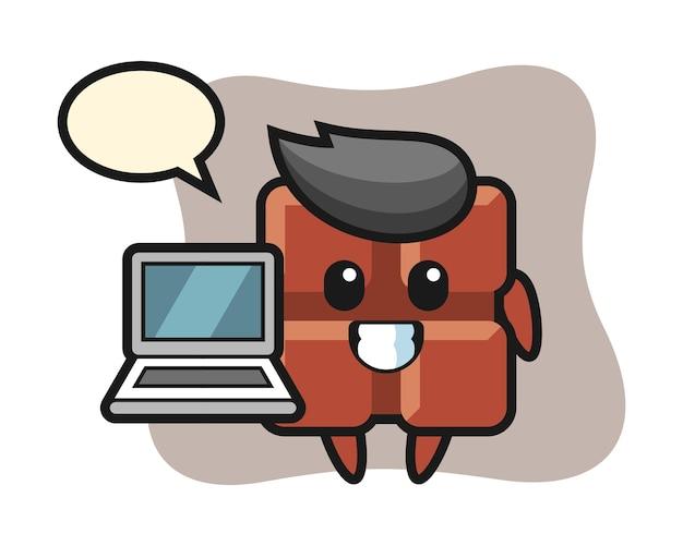 노트북, 귀여운 카와이 스타일 초콜릿 바의 마스코트 그림.