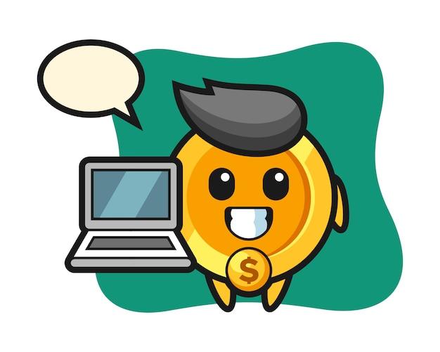 노트북과 달러 동전의 마스코트 그림