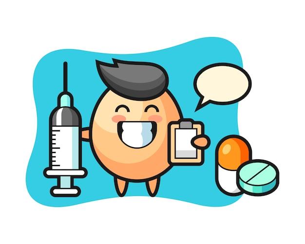 医師、tシャツ、ステッカー、ロゴ要素のかわいいスタイルデザインとして卵のマスコットイラスト