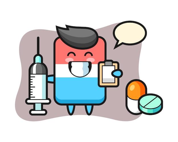 Иллюстрация талисмана ластика как доктор, милый стиль, наклейка, элемент логотипа