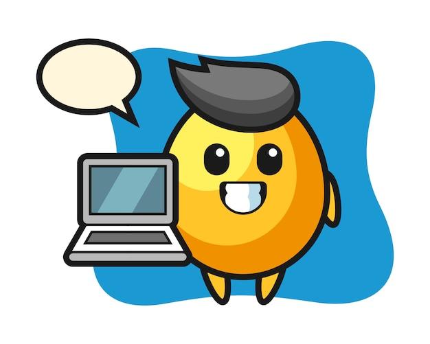 노트북, 귀여운 스타일의 디자인으로 황금 알의 마스코트 그림
