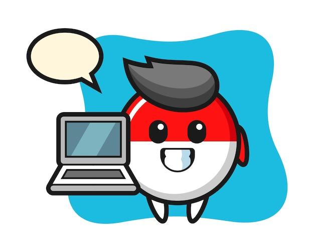 노트북과 인도네시아 국기 배지의 마스코트 그림