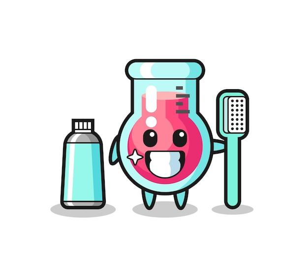Иллюстрация талисмана лабораторного стакана с зубной щеткой, милый стиль дизайна для футболки, наклейки, элемента логотипа